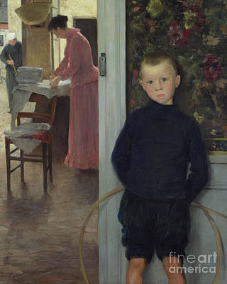 Interior Scene Painting - Interior With Women And A Child by Paul Mathey