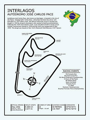 Circuit Photograph - Interlagos Brazil by Mark Rogan