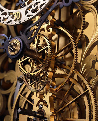 Internal Gears Within A Clock Print by David Parker