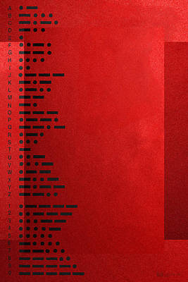 Visual Communication Digital Art - International Morse Code - Black On Red by Serge Averbukh