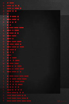 Visual Communication Digital Art - International Morse Code - Red On Black.   by Serge Averbukh