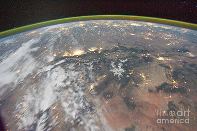 Space Photograph - International Space Station Night Time Image Rocky Mountains Denver Colorado Springs by R Muirhead Art
