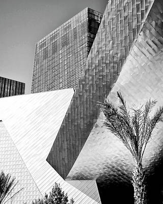 Aria Photograph - Intersection 1 Bw Las Vegas by William Dey