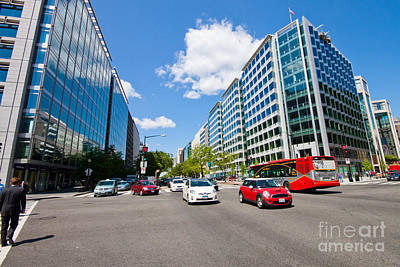 Washington Dc Street Scene Photograph - Intersection Of Connecticut Avenue And K St., Downtown Washingto by Thomas Marchessault