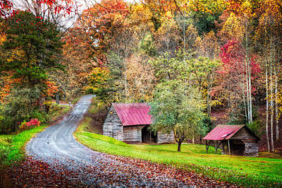 Old Country Roads Photograph - Into Autumn by Debra and Dave Vanderlaan