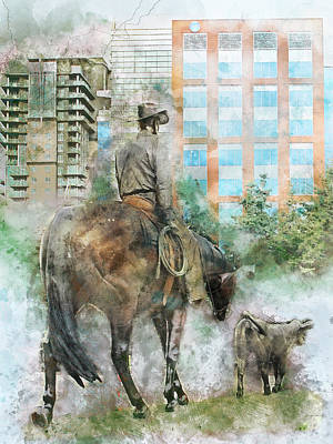Cattle Drive Digital Art - Into The Future - Past And Present Cowboy Watercolor by Rayanda Arts