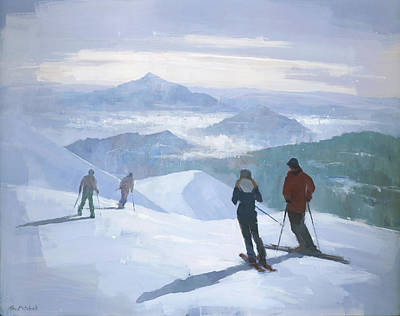 Ski Painting - Into The Valley by Steve Mitchell