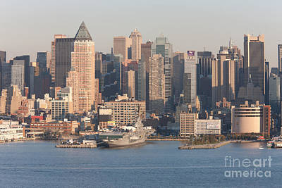 Empire State Building Photograph - Intrepid Museum And Manhattan Skyline by Clarence Holmes