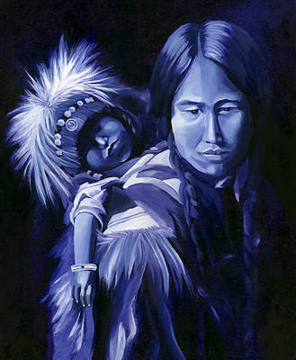 Inuit Mother And Child Print by Nancy Griswold