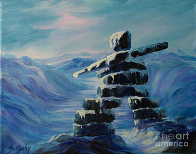 Inukshuk My Northern Compass Print by Joanne Smoley