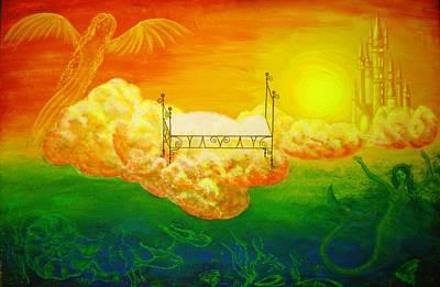 Angel Mermaids Ocean Painting - Invitation To Dreamland by Esthy Baltisberger