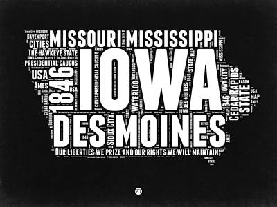 Mississippi State Map Digital Art - Iowa Black And White Map by Naxart Studio