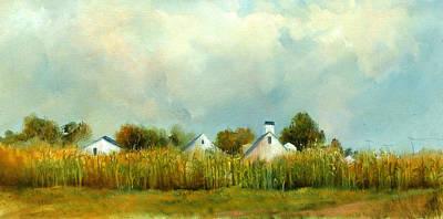 Cornfield Painting - Iowa Cornfields by Sally Seago