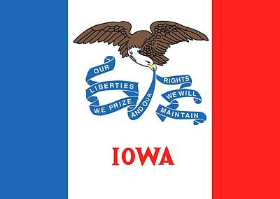 Red White And Blue Painting - Iowa State Flag by American School