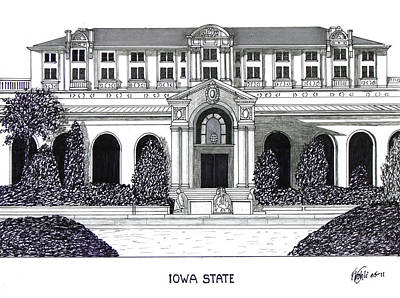 Pen And Ink Drawing - Iowa State by Frederic Kohli