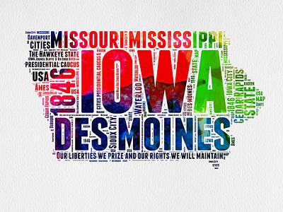 Usa Mixed Media - Iowa Watercolor Word Cloud  by Naxart Studio
