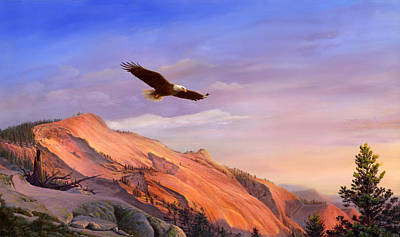 iPhone - Galaxy Case - Flying American Bald Eagle Mountain Landscape Painting - American West Print by Walt Curlee