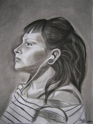 Music Ipod Drawing - Ipod - Female Portrait by Candace Barnett