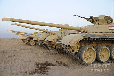 Iraqi T-72 Tanks From Iraqi Army Print by Stocktrek Images