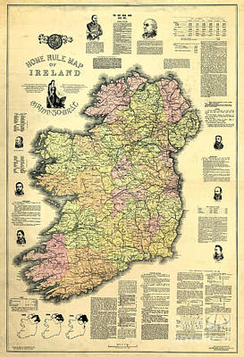 Ireland 1893 Map Print by Jon Neidert