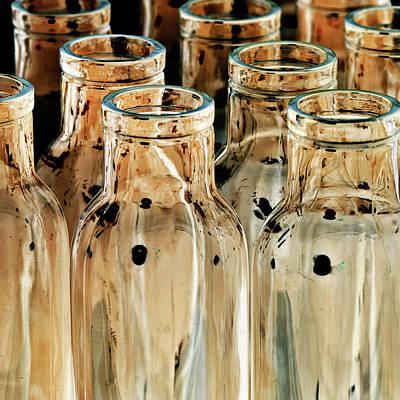 Iridescent Glass Photograph - Iridescent Bottle Parade by Heiko Koehrer-Wagner