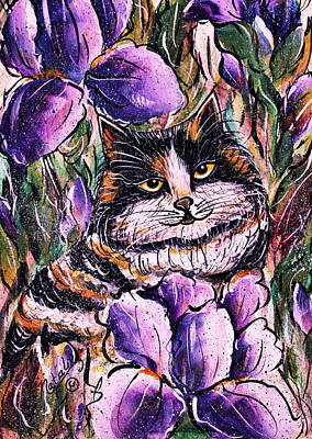 Domestic Short Hair Cat Painting - Iris 2 by Natalie Holland