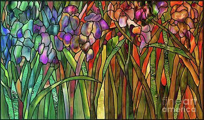 Glass Wall Painting - Iris Coloring Book by Mindy Sommers