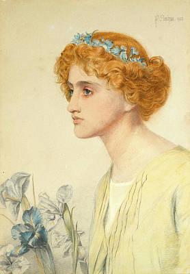 Frederick Sandys Drawing - Iris by Frederick Sandys