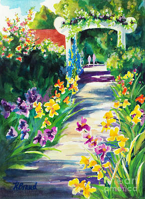 Impressionistic Landscape Painting - Iris Garden Walkway   by Kathy Braud