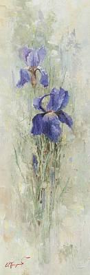 Irises In The Garden Print by Oleg Trofimoff