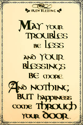 Irish Blessing Print by Bill Cannon