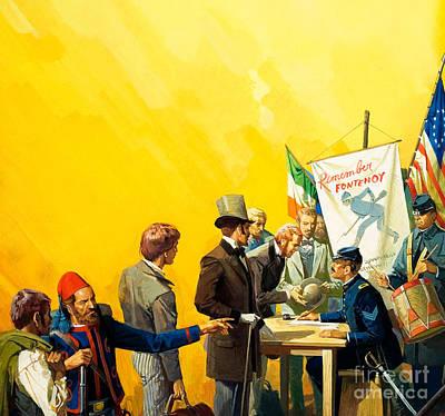 Irish Recruitment For The American Civil War Print by Severino Baraldi