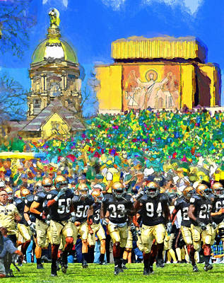 Notre Dame Painting - Irish Run To Victory by John Farr