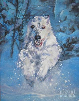 Irish Wolfhound Winter Run Print by Lee Ann Shepard