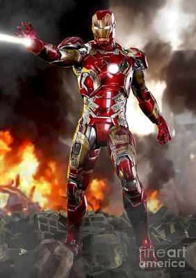 Iron Man With Battle Damage Print by Paul Tagliamonte