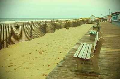 Benches Photograph - Is This A Beach Day - Jersey Shore by Angie Tirado