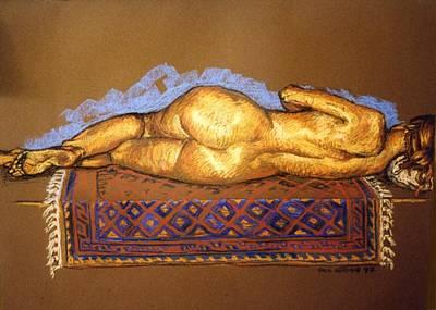 Isabel On Afghan Carpet- Back Print by Paul Herman