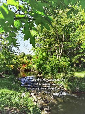 Prayers Photograph - Isaiah 33 21 by Susan Savad
