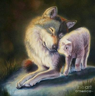 Isaiah Wolf And Lamb Original by Charice Cooper