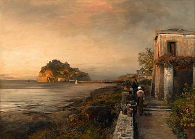 Oswald Painting - Ischia With A View Of Castello Aragonese by Oswald Achenbach