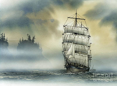 Sailing Vessels Painting - Island Mist by James Williamson