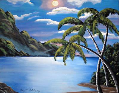 Island Night Glow Print by Luis F Rodriguez