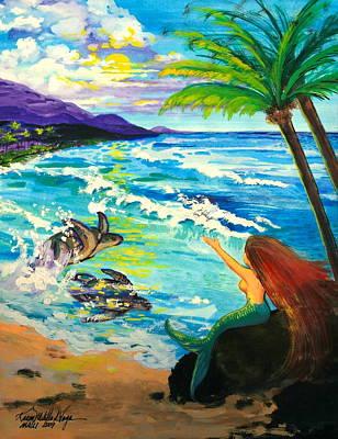 Ocean Turtle Painting - Island Sisters by Karon Melillo DeVega