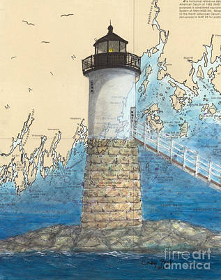 Penobscot Bay Painting - Isle Au Haut Lighthouse Me Nautical Map  by Cathy Peek