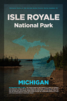 National Parks Mixed Media - Isle Royale National Park In Michigan Travel Poster Series Of National Parks Number 32 by Design Turnpike