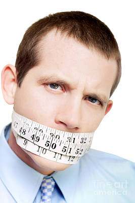 Diet.eat Photograph - Isolated Man With Tape Measure Around Mouth by Jorgo Photography - Wall Art Gallery