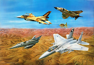 Falcon Mixed Media - Israeli Fighter Aircraft In The Eighties by Tuvia Kurz