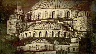 Istanbul Blue Mosque - Antiqued Print Print by Stephen Stookey