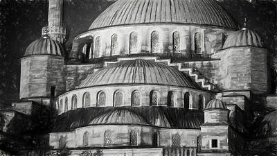Istanbul Blue Mosque - Charcoal  Sketch Print by Stephen Stookey