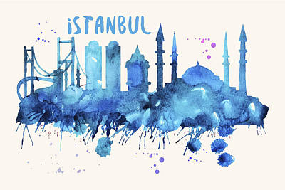 Turkey Digital Art - Istanbul Skyline Watercolor Poster - Cityscape Painting Artwork by Beautify My Walls